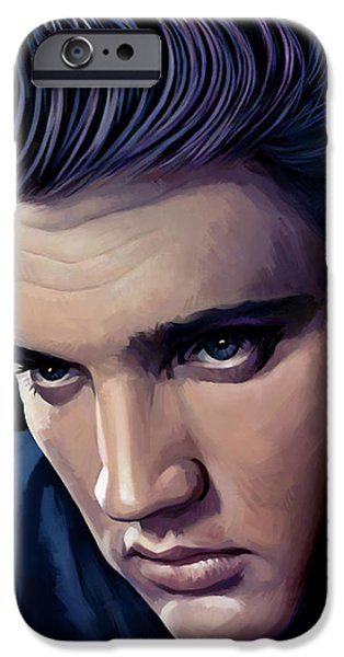 King Of Pop iPhone Cases - Elvis Presley Artwork 2 iPhone Case by Sheraz A