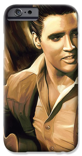 King Of Pop iPhone Cases - Elvis Presley Artwork iPhone Case by Sheraz A