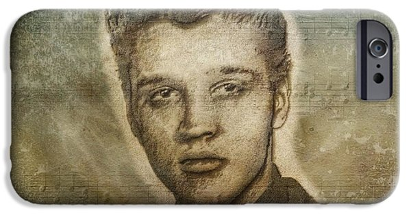 Legendary Music Singers iPhone Cases - Elvis Presley iPhone Case by Dan Sproul