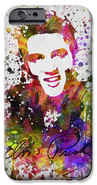 King Of Pop iPhone Cases - Elvis Presley in Color iPhone Case by Aged Pixel