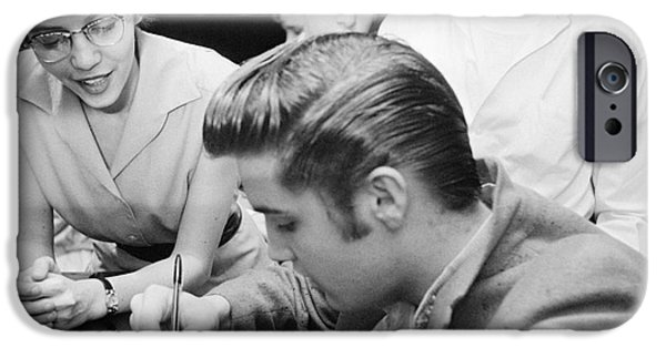 Autographed iPhone Cases - Elvis Presley Meeting Fans 1956 iPhone Case by The Phillip Harrington Collection