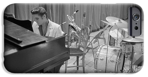 Piano iPhone Cases - Elvis Presley on piano waiting for a show to start 1956 iPhone Case by The Phillip Harrington Collection