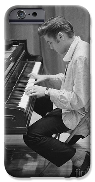 Archives iPhone Cases - Elvis Presley on piano while waiting for a show to start 1956 iPhone Case by The Phillip Harrington Collection
