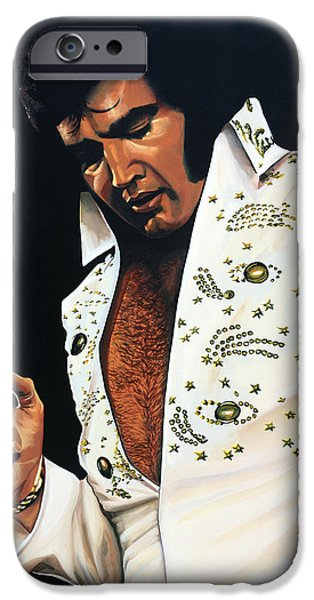 Idol Paintings iPhone Cases - Elvis Presley iPhone Case by Paul  Meijering