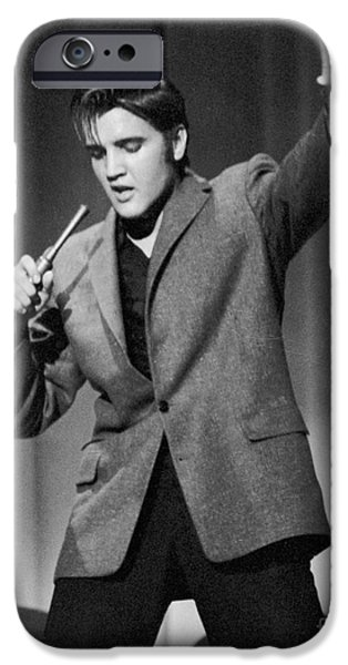 Recently Sold -  - One iPhone Cases - Elvis Presley performing in 1956 iPhone Case by The Phillip Harrington Collection