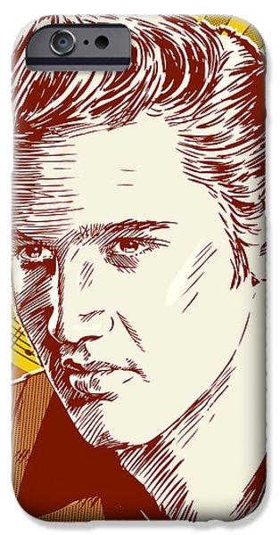 Fifties iPhone Cases - Elvis Presley Pop Art iPhone Case by Jim Zahniser