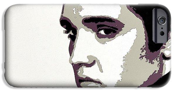 Movie Scene iPhone Cases - Elvis Presley Portrait Art iPhone Case by Florian Rodarte
