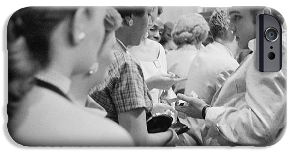Autographed iPhone Cases - Elvis Presley signing autographs at the Fox Theater 1956 iPhone Case by The Phillip Harrington Collection
