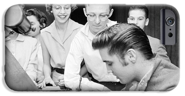 Autographed iPhone Cases - Elvis Presley Signing Autographs for Fans 1956 iPhone Case by The Phillip Harrington Collection