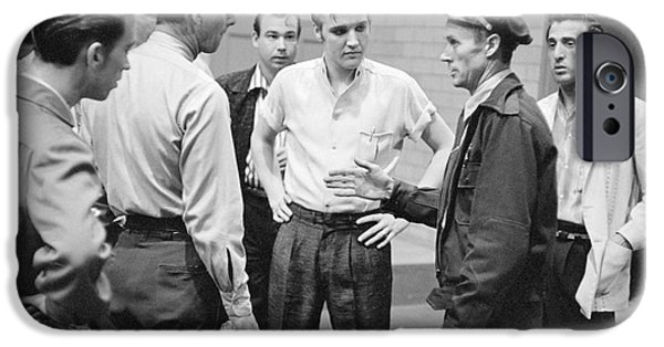 Police iPhone Cases - Elvis Presley speaking with police officers in 1956 iPhone Case by The Phillip Harrington Collection