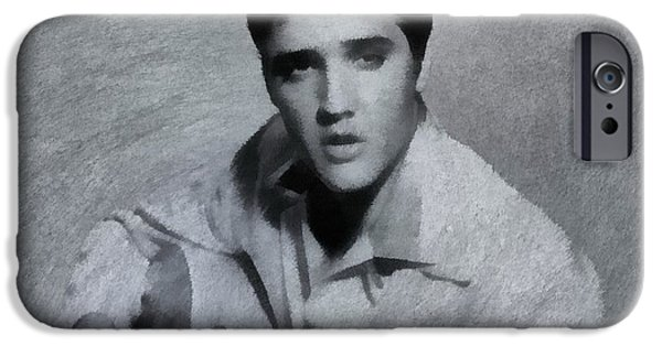 Cultural Icon iPhone Cases - Elvis Presley The King iPhone Case by Dan Sproul