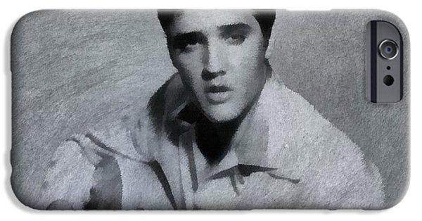 Elvis Presley Paintings iPhone Cases - Elvis Presley The King iPhone Case by Dan Sproul