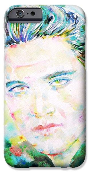 Elvis Presley Paintings iPhone Cases - Elvis Presley Watercolor Portrait.2 iPhone Case by Fabrizio Cassetta