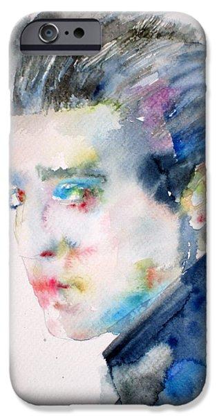 Elvis Presley Paintings iPhone Cases - Elvis Presley Watercolor Portrait.3 iPhone Case by Fabrizio Cassetta