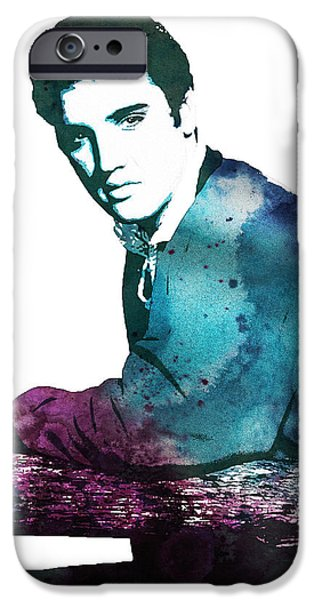 Elvis Presley Paintings iPhone Cases - Elvis the king iPhone Case by Celestial Images