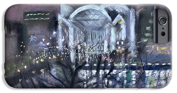 Winter iPhone Cases - Embankment Station, From The South Bank, 1995 Pastel On Paper iPhone Case by Sophia Elliot