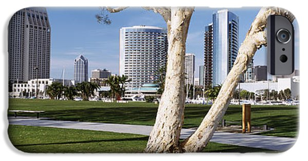 Man Made Space iPhone Cases - Embarcadero Marina Park, San Diego iPhone Case by Panoramic Images