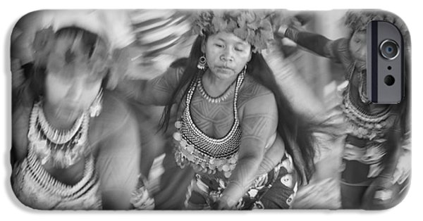 Province iPhone Cases - Embera Villagers in Panama as black and white iPhone Case by David Smith