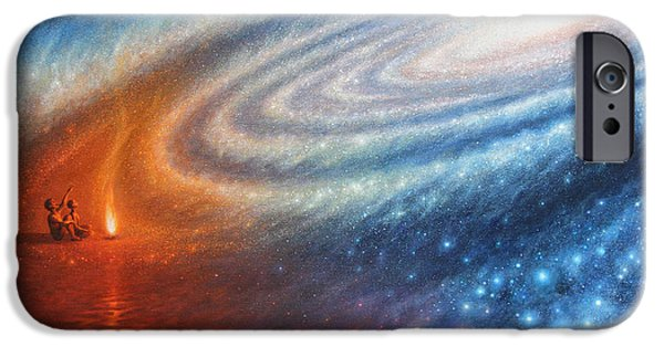 Cosmos Paintings iPhone Cases - Embers of Exploration and Enlightenment iPhone Case by Lucy West