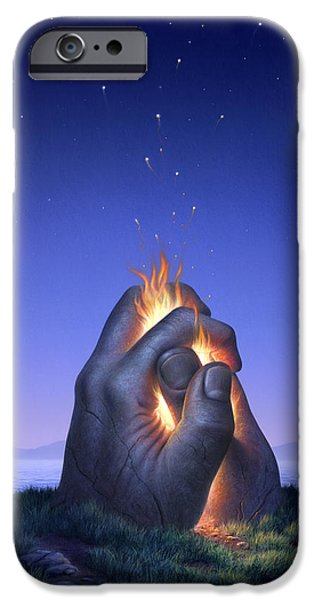 Fire iPhone Cases - Embers Turn to Stars iPhone Case by Jerry LoFaro