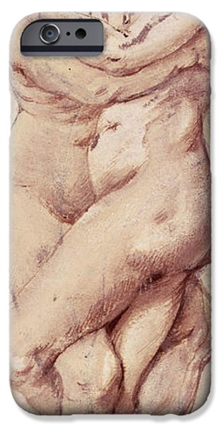 Portraiture Drawings iPhone Cases - Embracing Couple iPhone Case by Rubens