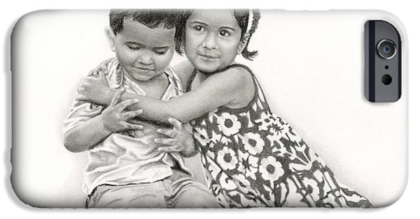 Innocence Drawings iPhone Cases - Embracing Friendship iPhone Case by Sarah Batalka