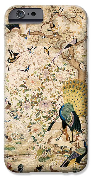 Animals Tapestries - Textiles iPhone Cases - Embroidered panel with a pair of peacocks and numerous other birds iPhone Case by Chinese School