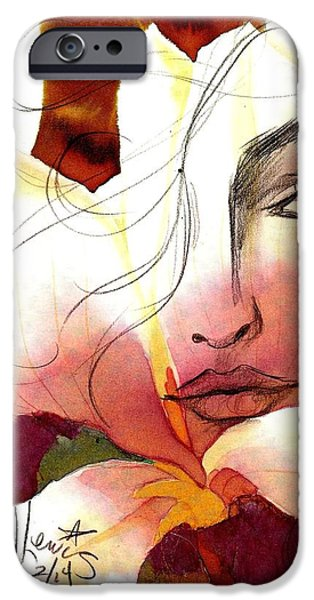 Mixed Media Drawings iPhone Cases - Emely iPhone Case by P J Lewis