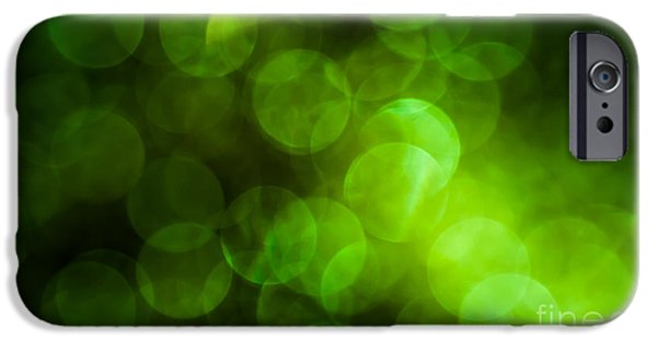 Emerald Green Abstract iPhone Cases - Emerald Bokeh iPhone Case by Jan Bickerton