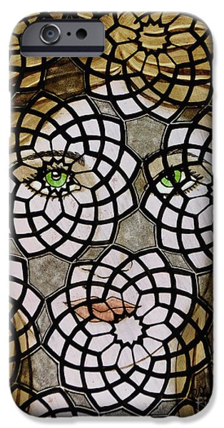 Paint Glass Art iPhone Cases - Emerald Eyes iPhone Case by Valerie Lynn