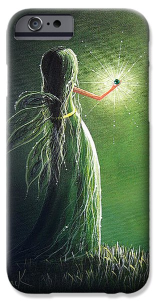 Fairy Tale iPhone Cases - Emerald Fairy by Shawna Erback iPhone Case by Shawna Erback