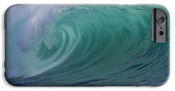 Turbulent iPhone Cases - Emerald green breaking wave tube iPhone Case by Heiko Koehrer-Wagner