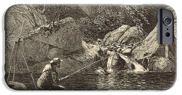 Nineteenth iPhone Cases - Emerald Pool at Peabody River Glen 1872 Engraving iPhone Case by Antique Engravings