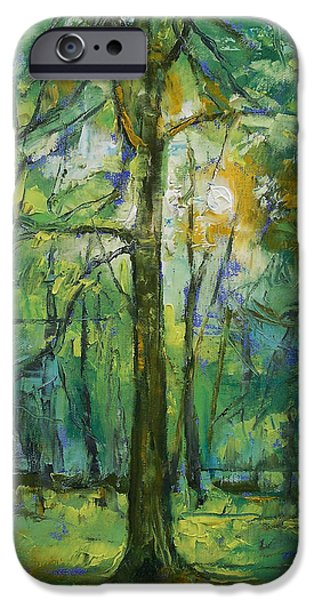 Oil Stain iPhone Cases - Emerald Twilight iPhone Case by Michael Creese