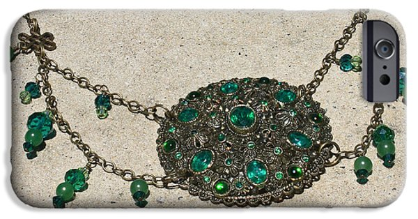 Vintage Jewelry iPhone Cases - Emerald Vintage New England Glass Works Brooch Necklace 3632 iPhone Case by Teresa Mucha