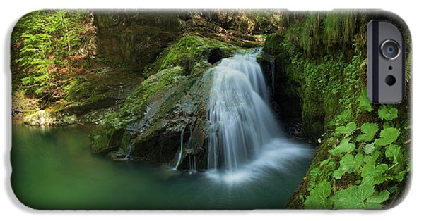 Emerald Green iPhone Cases - Emerald waterfall iPhone Case by Davorin Mance