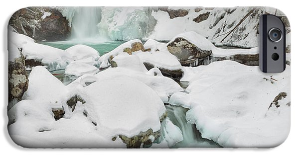 New England Snow Scene iPhone Cases - Emerald Waters Square iPhone Case by Bill  Wakeley
