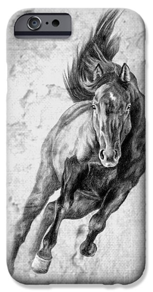 Horse Digital Art iPhone Cases - Emergence Galloping Black Horse iPhone Case by Renee Forth-Fukumoto