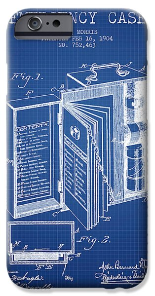 Emergency iPhone Cases - Emergency Case Patent from 1904 - Blueprint iPhone Case by Aged Pixel