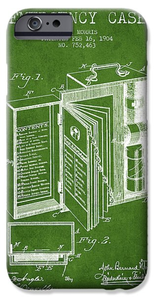 Emergency iPhone Cases - Emergency Case Patent from 1904 - Green iPhone Case by Aged Pixel