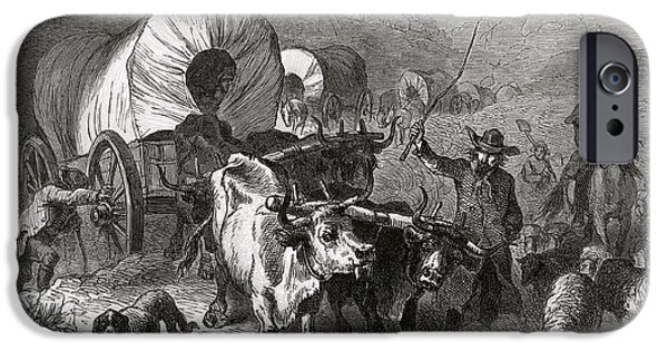 Cattle Dog iPhone Cases - Emigration To The Western Country, Engraved By Bobbett Engraving Bw Photo iPhone Case by Felix Octavius Carr Darley