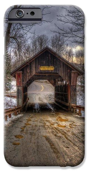 New England Snow Scene Photographs iPhone Cases - Emilys Bridge - Stowe Vermont iPhone Case by Joann Vitali