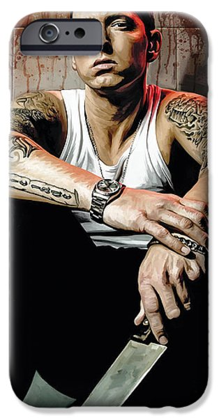 Hip-hop iPhone Cases - Eminem Artwork 1 iPhone Case by Sheraz A
