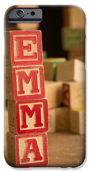 Spell iPhone Cases - EMMA - Alphabet Blocks iPhone Case by Edward Fielding