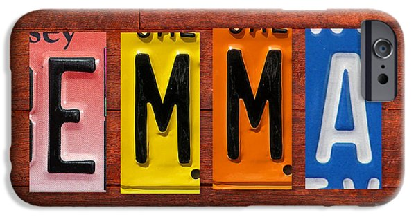 Signed Mixed Media iPhone Cases - EMMA License Plate Name Sign Fun Kid Room Decor iPhone Case by Design Turnpike
