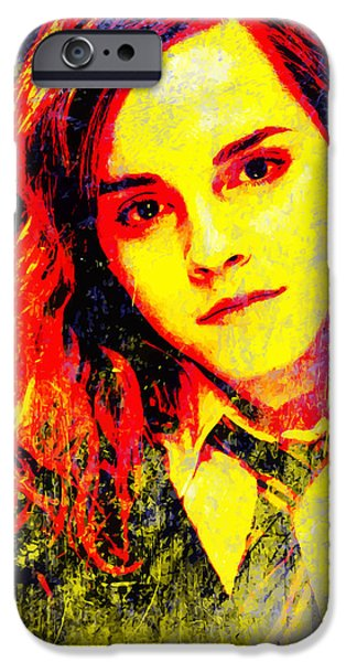 Hermione Granger iPhone Cases - Emma Watson as Hermione Granger iPhone Case by John Novis