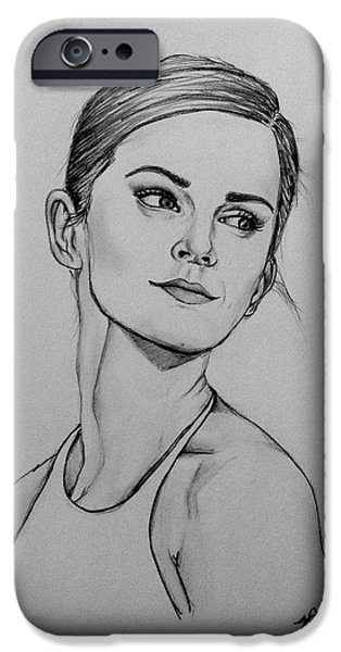 Watson Lake Drawings iPhone Cases - Emma Watson iPhone Case by Jeszy Arnold