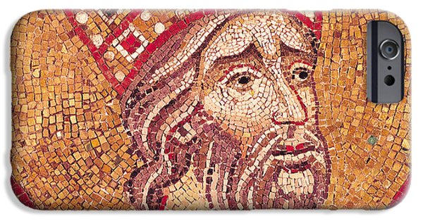 Mosaic iPhone Cases - Emperor Constantine I iPhone Case by Byzantine School