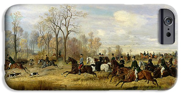 Hound iPhone Cases - Emperor Franz Joseph I of Austria Hunting to Hounds with the Countess Larisch in Silesia iPhone Case by Emil Adam