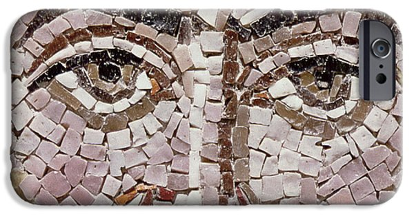 Byzantine iPhone Cases - Emperor Justinian I 483-565 C.547 Ad Mosaic Detail Of 140283 iPhone Case by Byzantine School